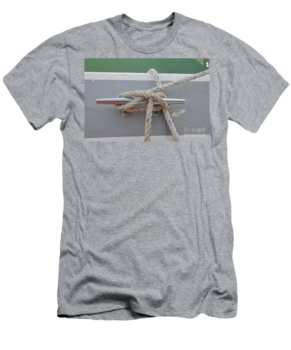 Yacht Men's T-Shirt (Athletic Fit) featuring the photograph Yacht Secured To A Jetty by Shay Levy