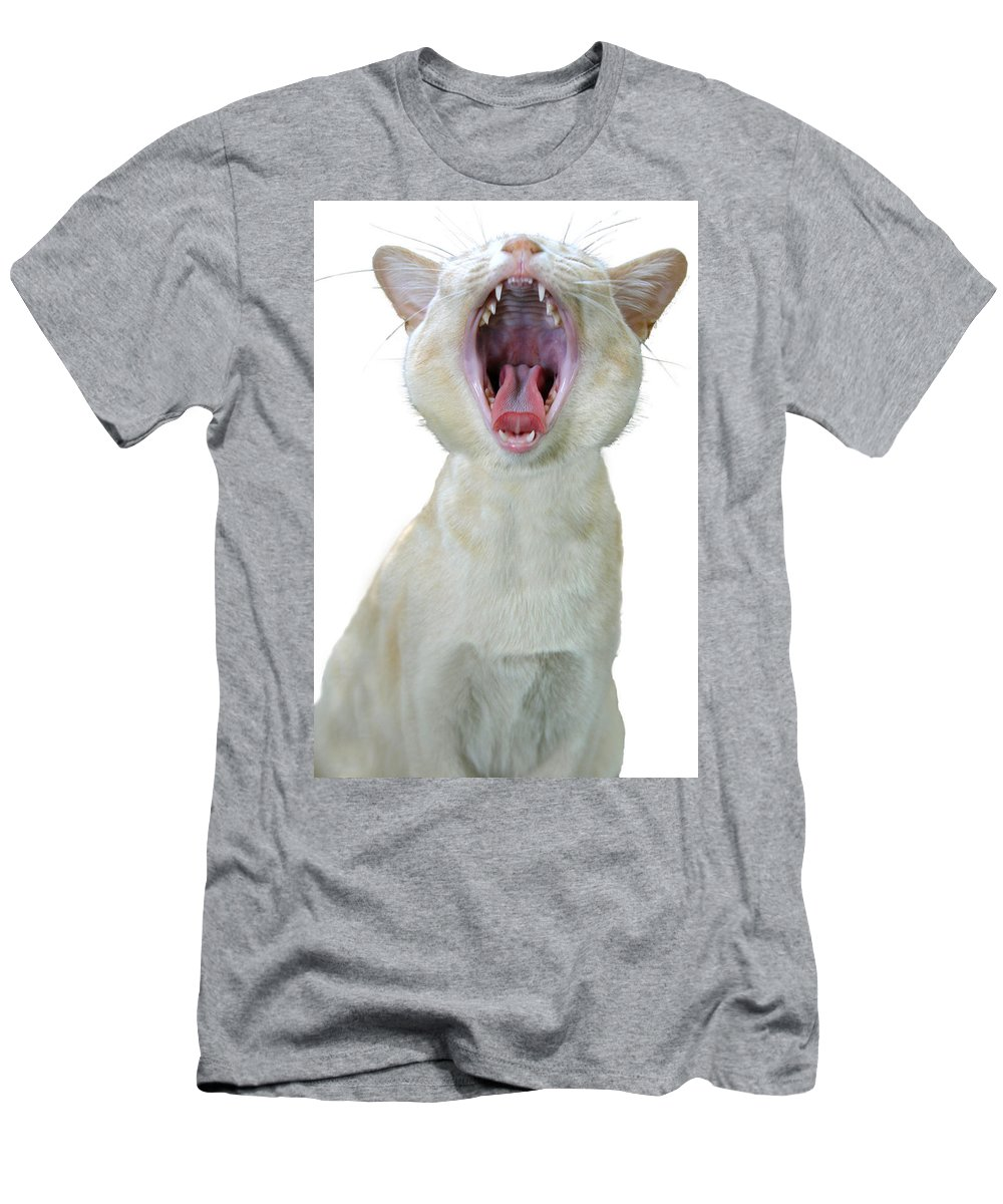 Cat Men's T-Shirt (Athletic Fit) featuring the photograph Yawning Cat by Jenny Setchell