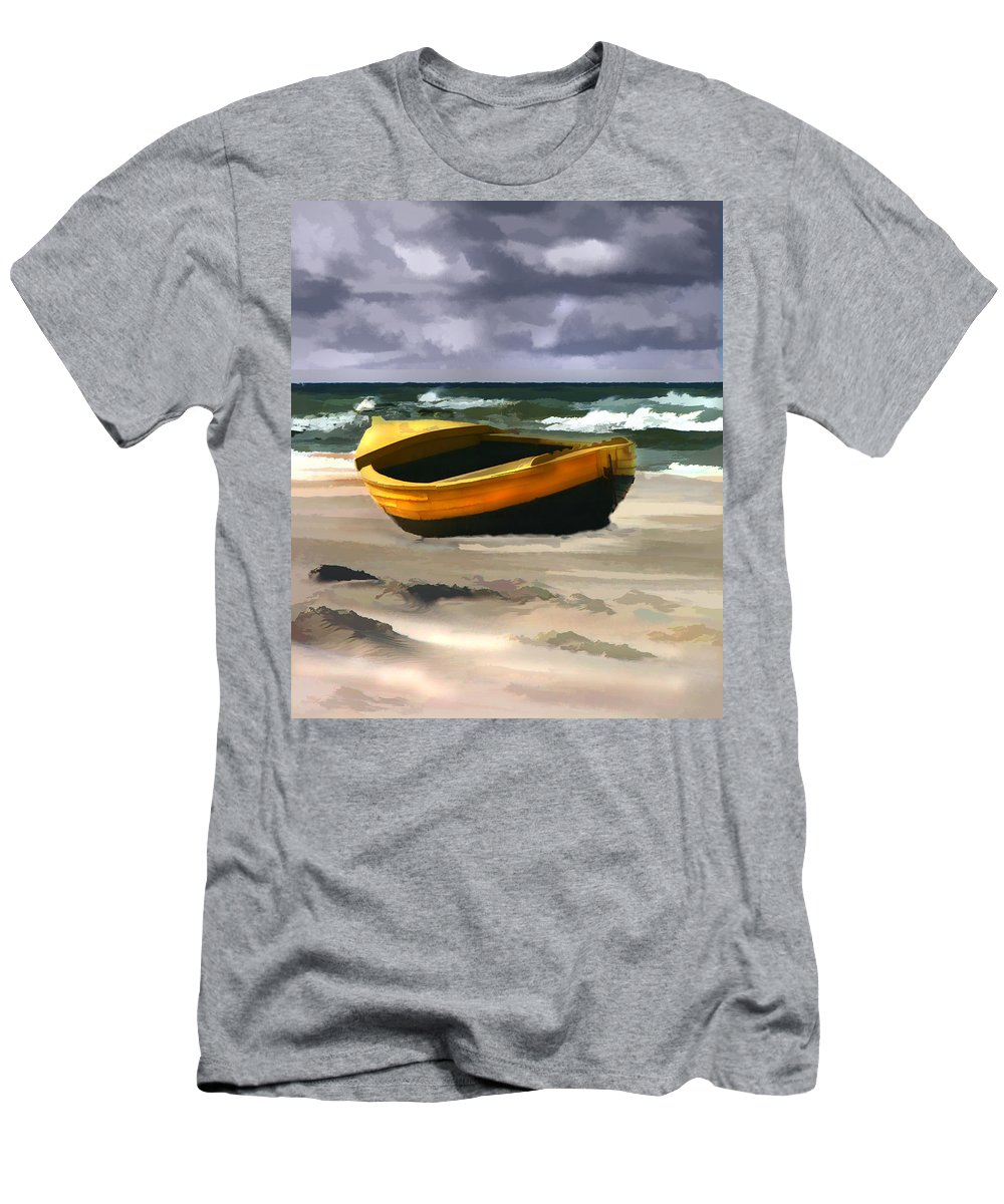 Landscape Men's T-Shirt (Athletic Fit) featuring the painting Yellow Fishing Dory Before The Storm by Elaine Plesser