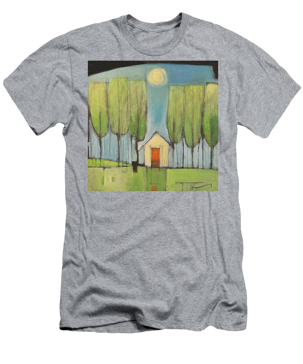 House Men's T-Shirt (Athletic Fit) featuring the painting Yellow House In Woods by Tim Nyberg