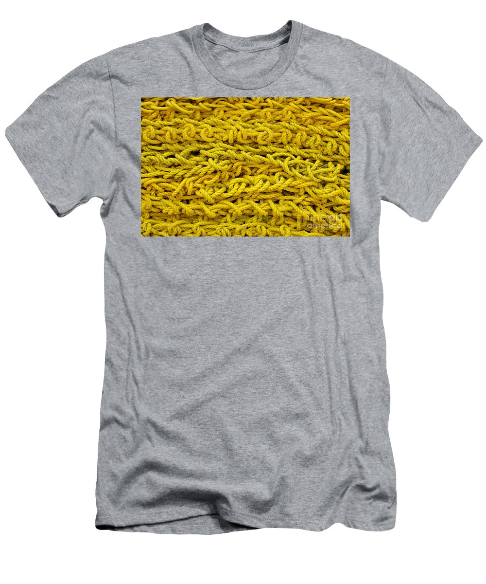 Background Men's T-Shirt (Athletic Fit) featuring the photograph Yellow Rope Stack by Jannis Werner