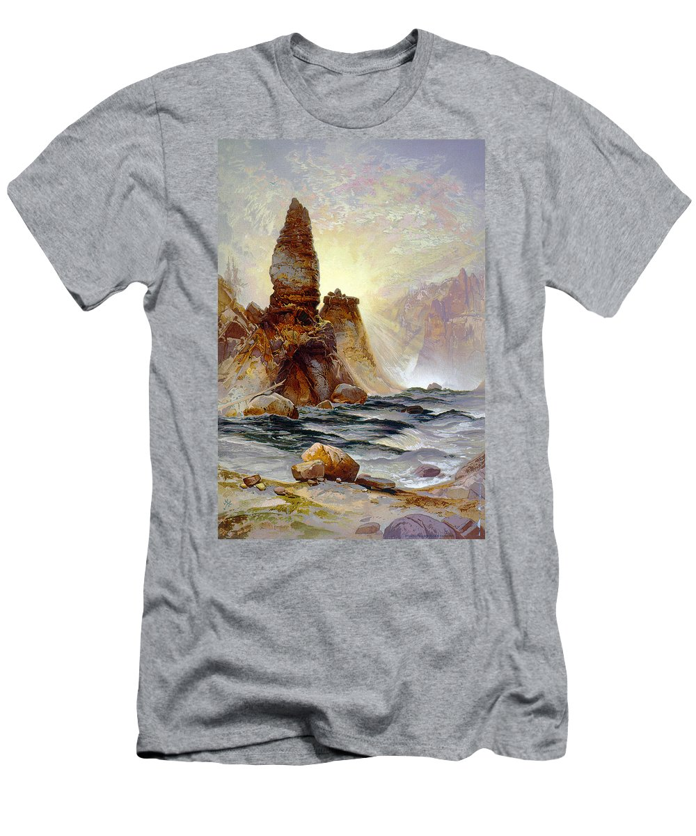 1875 Men's T-Shirt (Athletic Fit) featuring the painting Yellowstone Tower Falls by Granger