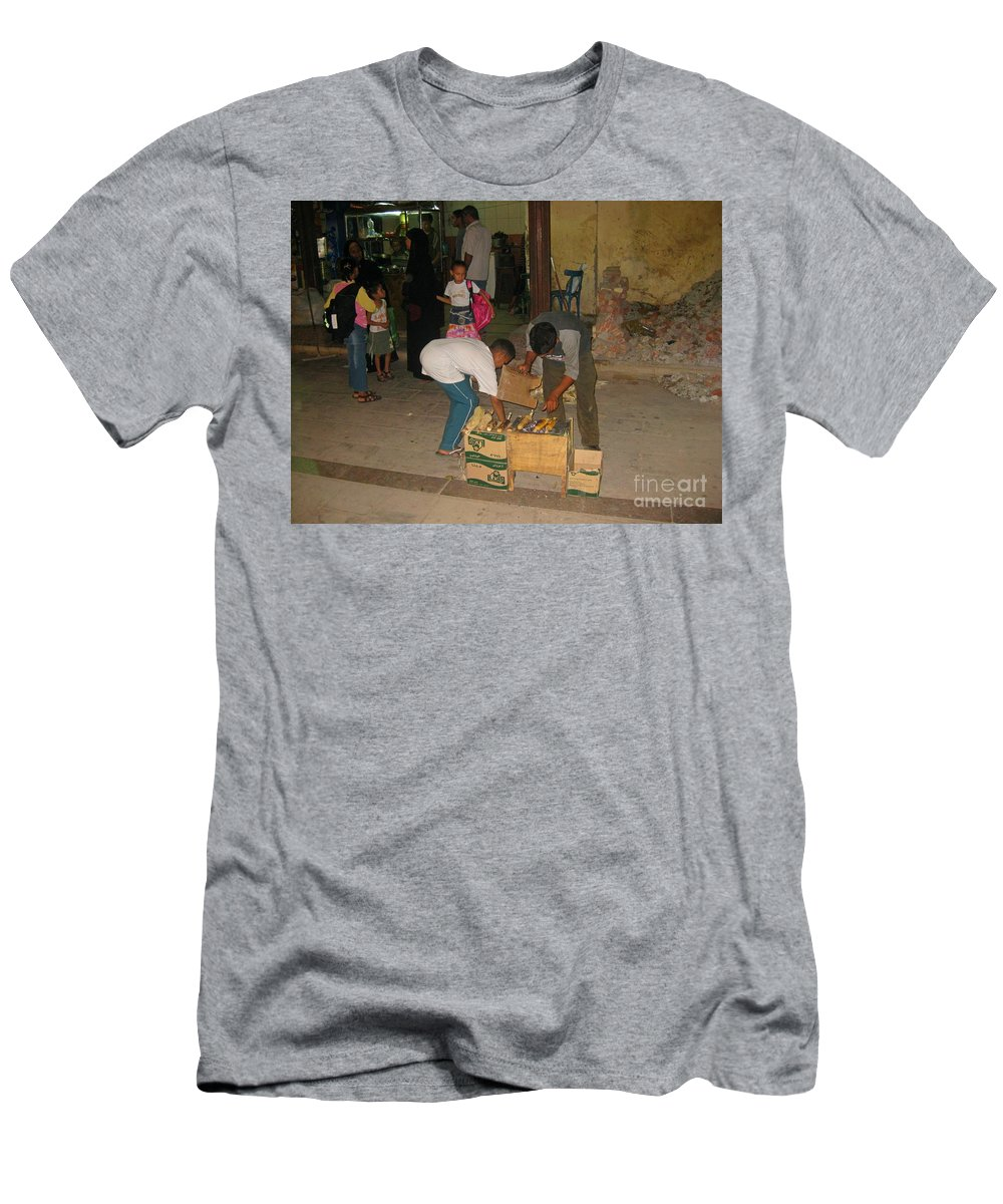 Egyptian Night Life Art Men's T-Shirt (Athletic Fit) featuring the photograph Young Egytian Entrepreneurs by John Malone