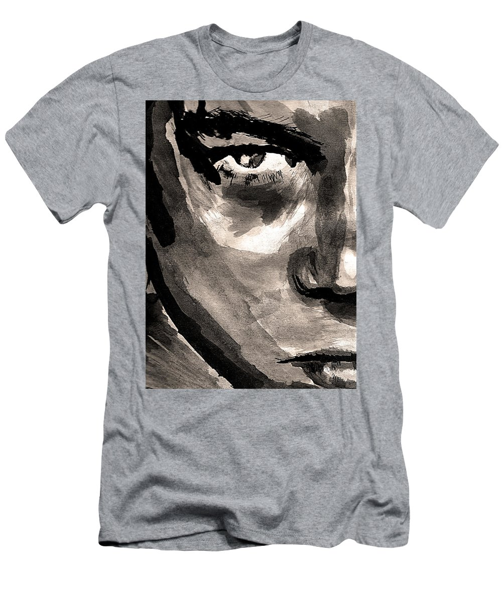 Leonardo Dicaprio Men's T-Shirt (Athletic Fit) featuring the drawing Young Leo by Molly Picklesimer
