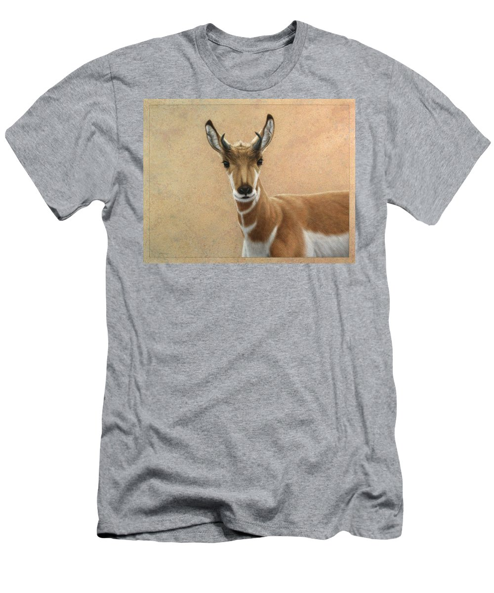 Cute Men's T-Shirt (Athletic Fit) featuring the painting Young Pronghorn by James W Johnson