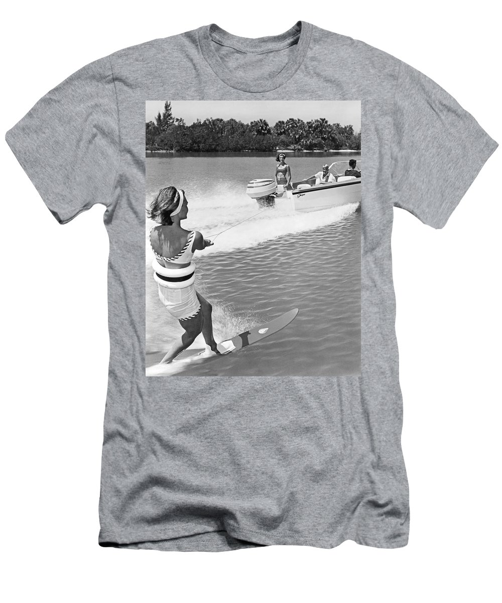 1960s Men's T-Shirt (Athletic Fit) featuring the photograph Young Woman Slalom Water Skis by Underwood Archives