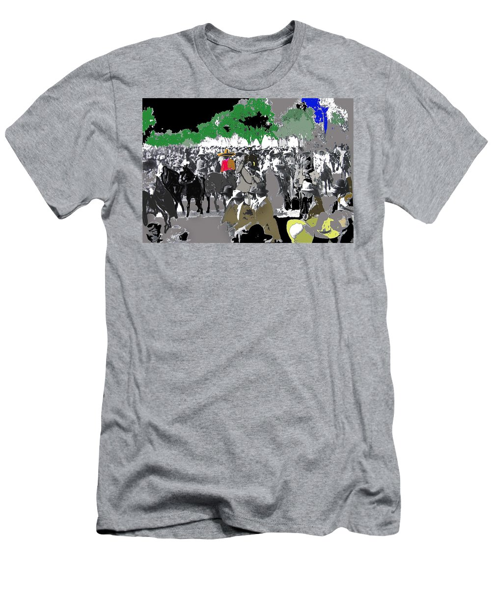 Zapata And Villa Convencionista Army Mexico City December 6 1914 Men's T-Shirt (Athletic Fit) featuring the photograph Zapata And Villa Convencionista Army Mexico City December 6 1914-2013 by David Lee Guss