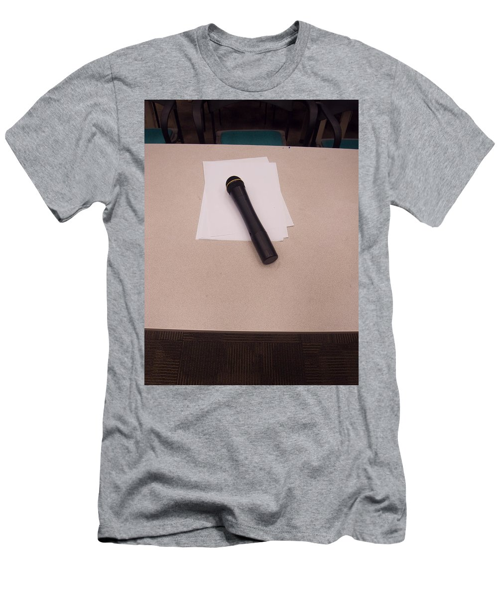 Microphone Men's T-Shirt (Athletic Fit) featuring the photograph A Microphone On The Lectern Of A Presentation Room by Ashish Agarwal