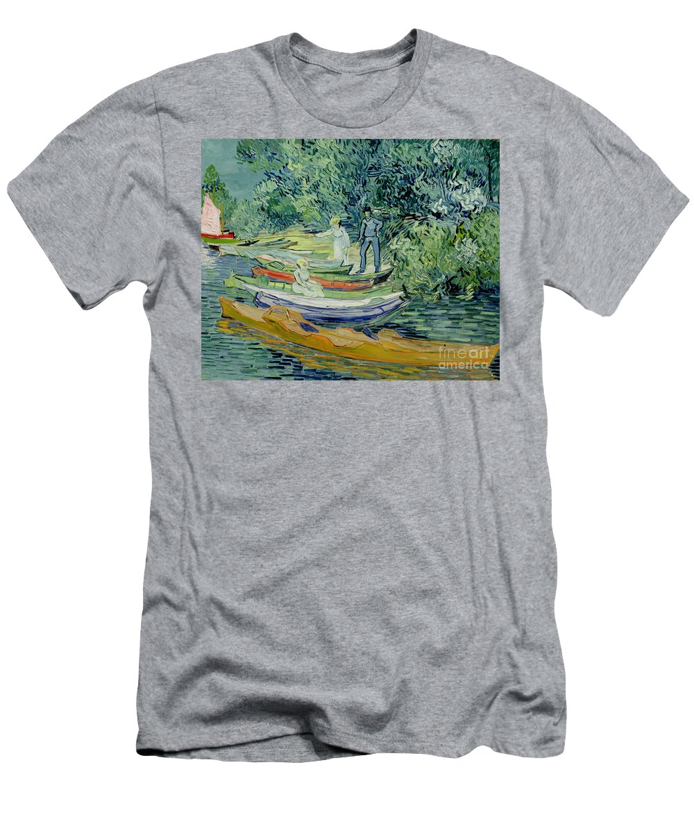 Landscape; Post-impressionist; River; Boat; Punting; Outing; Leisure; Summer; Day Trip; Gogh Men's T-Shirt (Athletic Fit) featuring the painting Bank Of The Oise At Auvers by Vincent Van Gogh