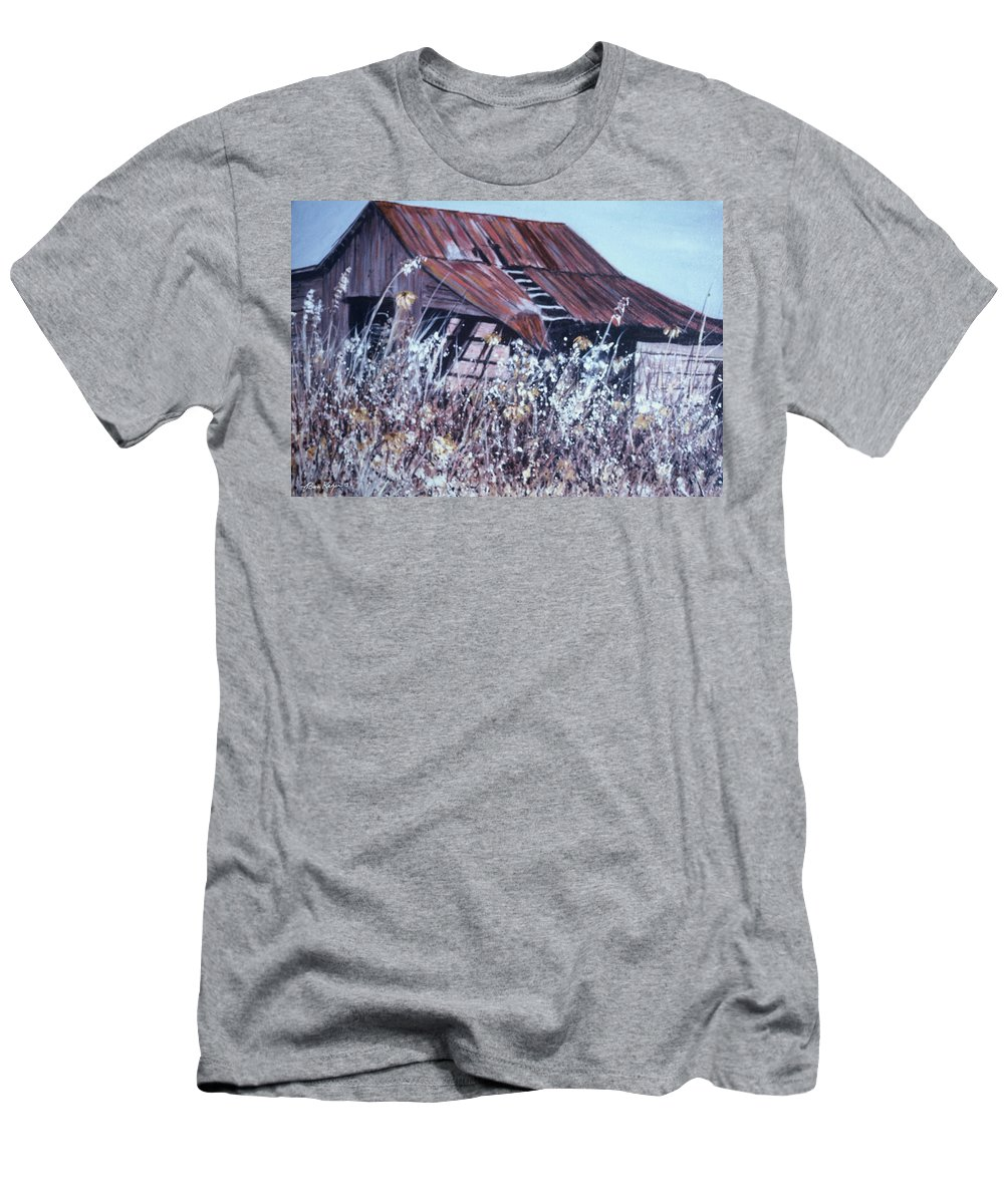 Rustic T-Shirt featuring the painting Barn in Sunlight by Ben Kiger