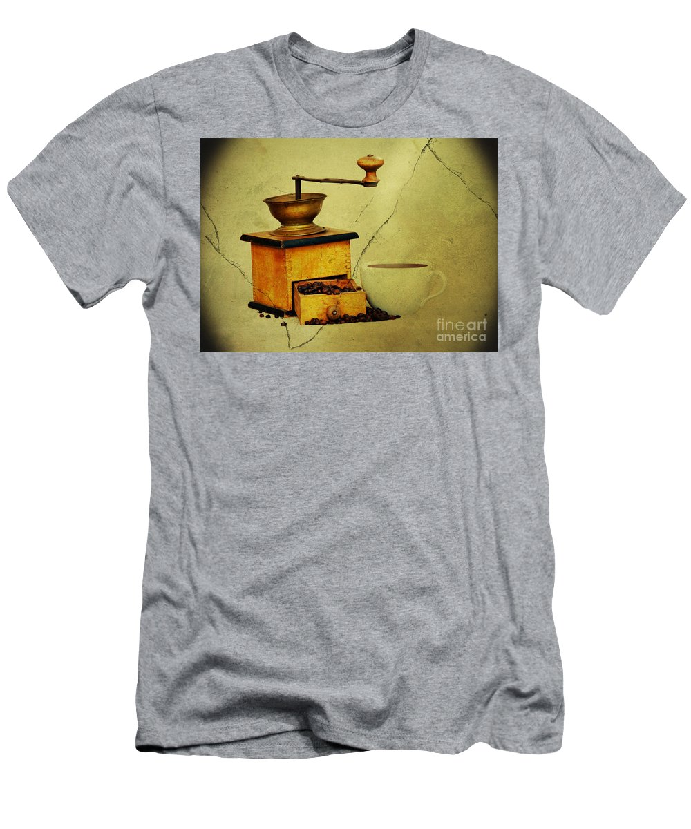 Kaffeeklatsch Men's T-Shirt (Athletic Fit) featuring the photograph Coffee Mill And Beans In Grunge Style by Michal Boubin