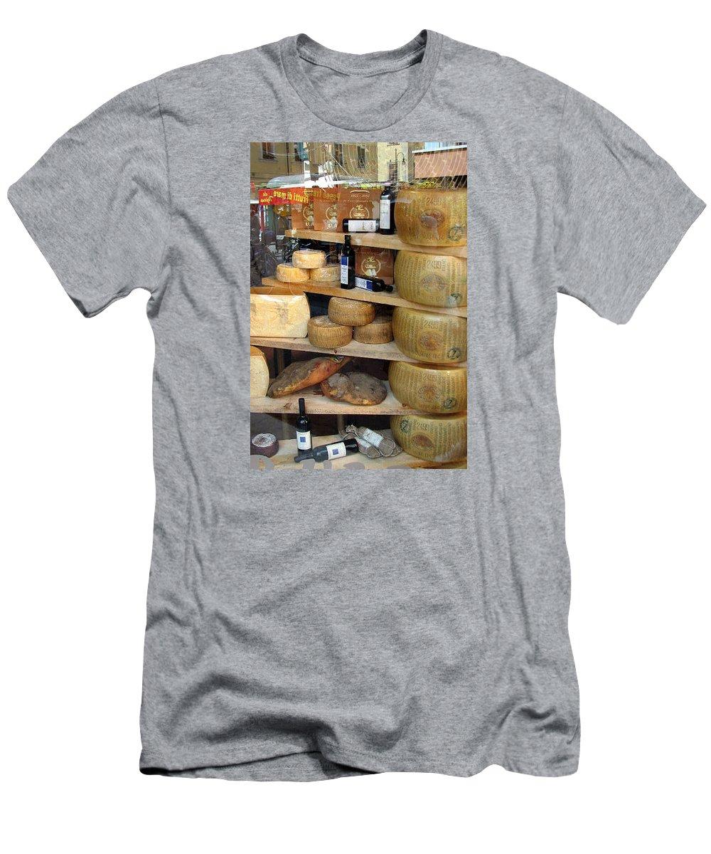 Parmesan Men's T-Shirt (Athletic Fit) featuring the photograph Parmesan Rounds by Carla Parris