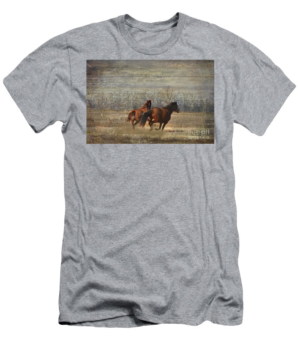 Animals Men's T-Shirt (Athletic Fit) featuring the photograph Running Free by Debbie Portwood