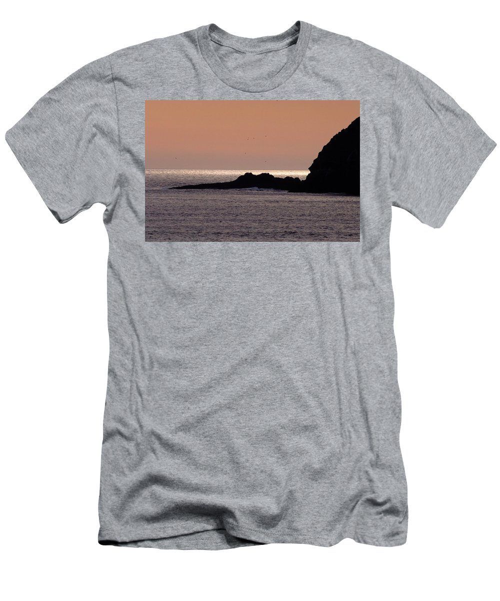 Ocean Men's T-Shirt (Athletic Fit) featuring the photograph Sunset Three Arch Rocks Bird Sanctuary by One Rude Dawg Orcutt