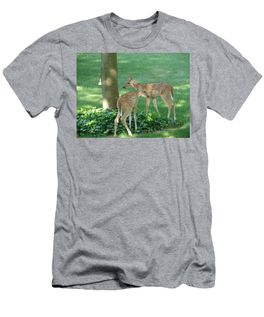 Witetail Deer Men's T-Shirt (Athletic Fit) featuring the photograph Whitetail Fawns by Randy J Heath