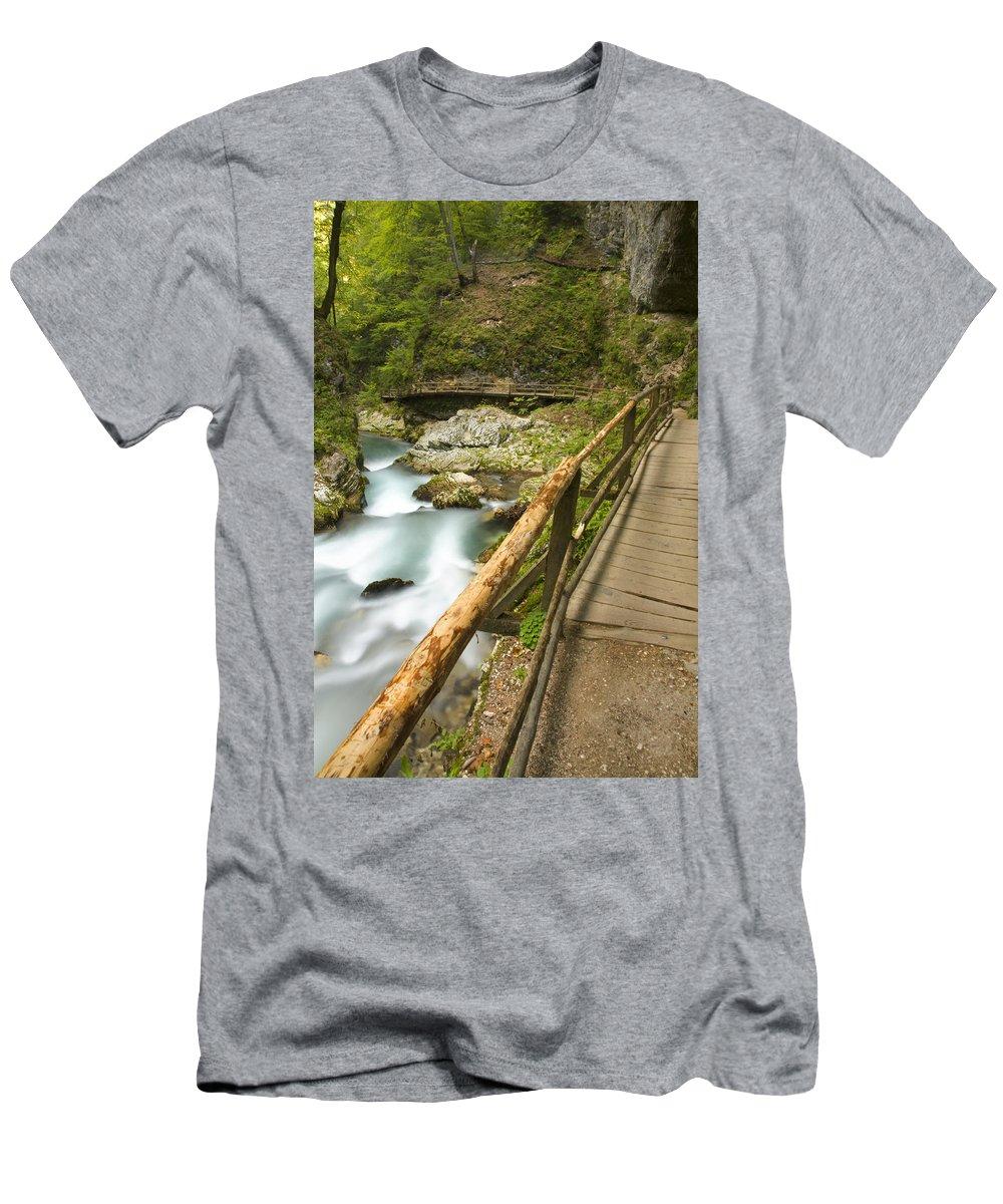Soteska Men's T-Shirt (Athletic Fit) featuring the photograph The Soteska Vintgar Gorge by Ian Middleton
