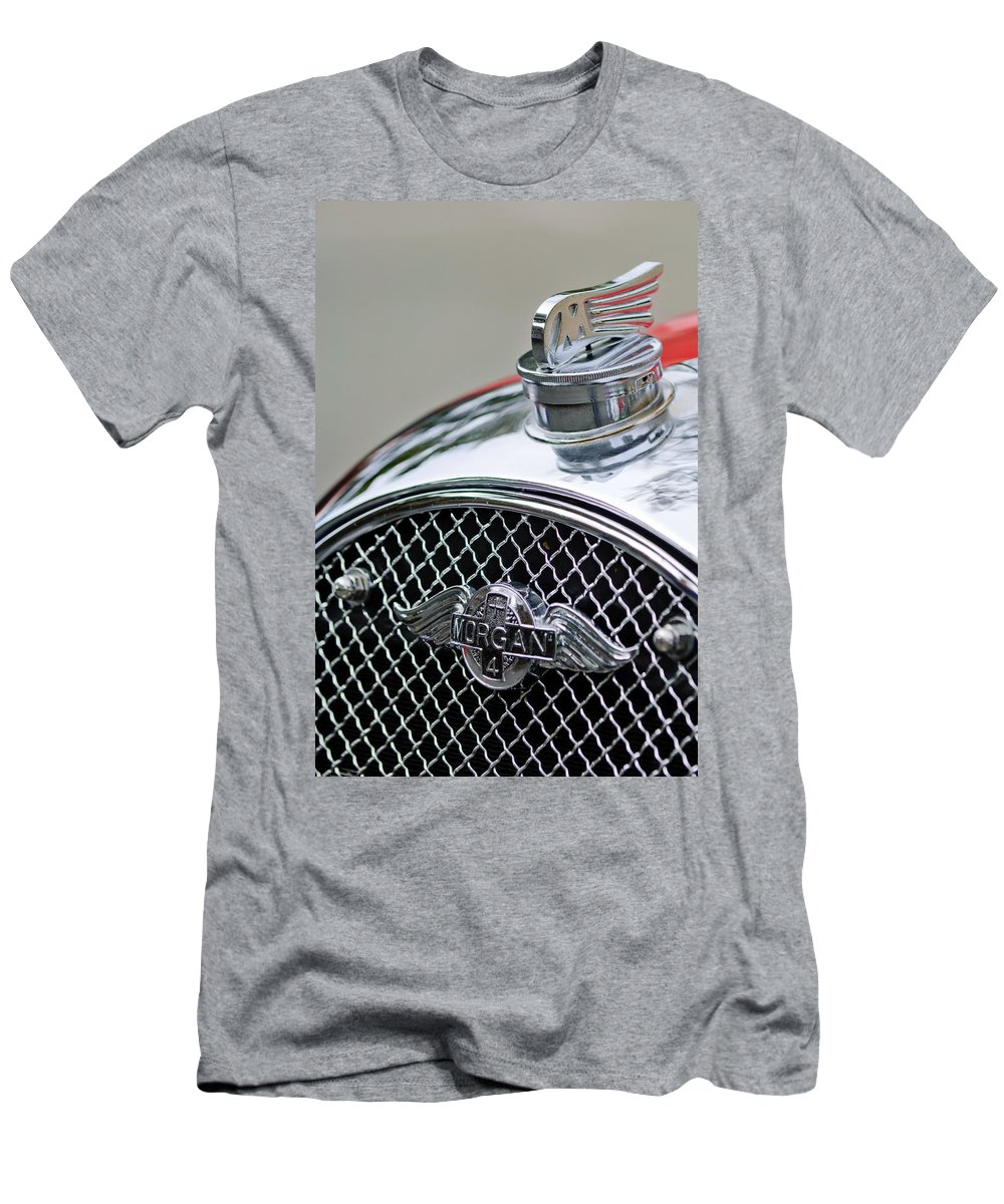 1953 Morgan +4 Le Mans Tt Special Men's T-Shirt (Athletic Fit) featuring the photograph 1953 Morgan Plus 4 Le Mans Tt Special Hood Ornament    by Jill Reger