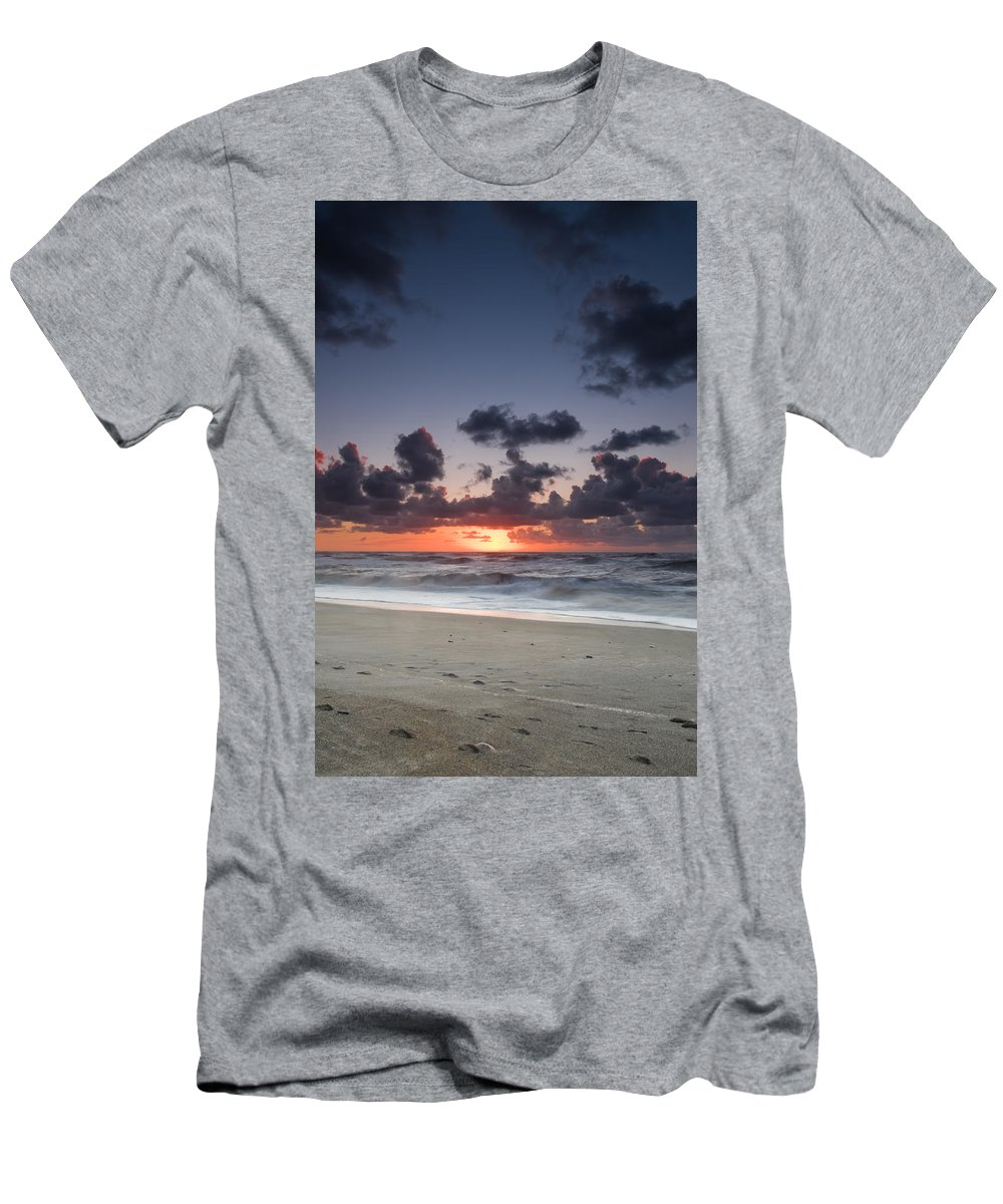 Beach Men's T-Shirt (Athletic Fit) featuring the photograph A Beach During Sunset With Glowing Sky by U Schade