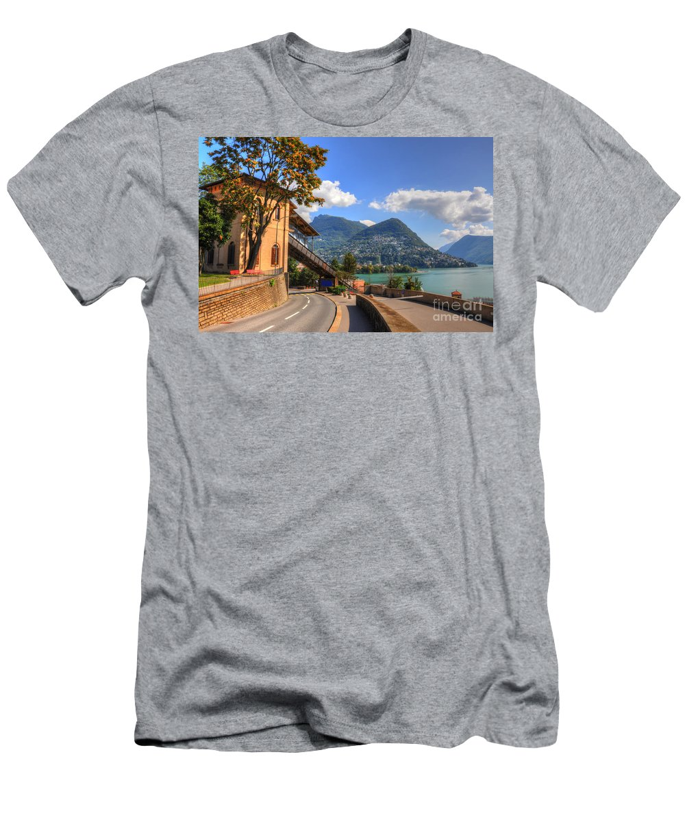 Road Men's T-Shirt (Athletic Fit) featuring the photograph Road And Mountain by Mats Silvan