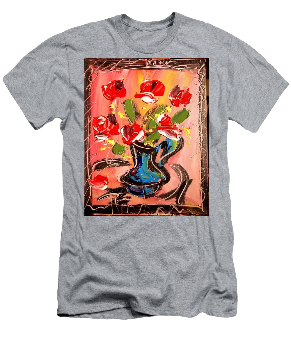 Roses Men's T-Shirt (Athletic Fit) featuring the mixed media Roses by Mark Kazav