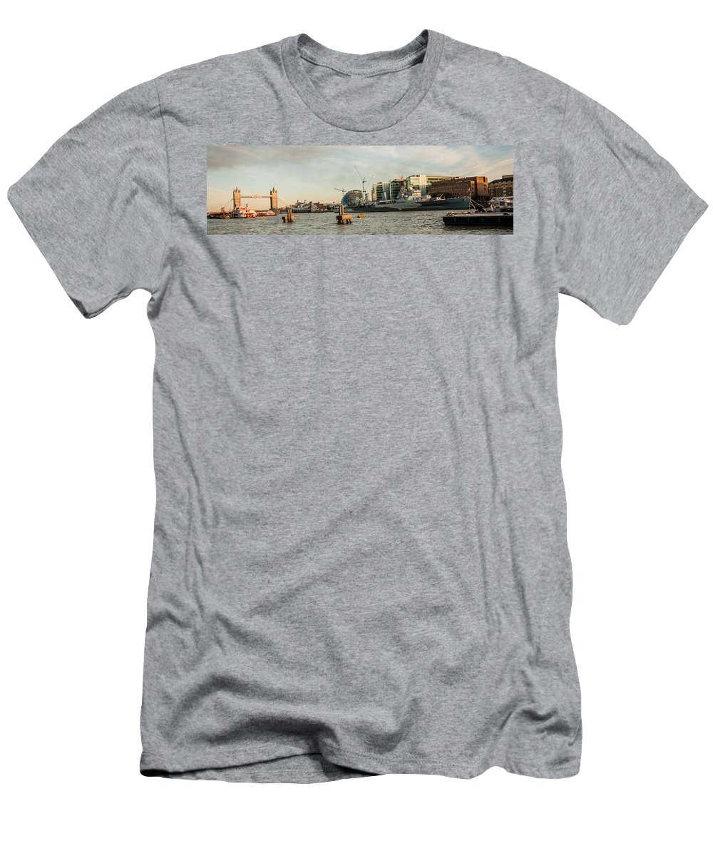London Skyline Men's T-Shirt (Athletic Fit) featuring the photograph London Skyline Sunset by Dawn OConnor