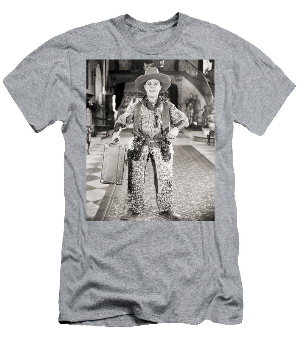 -guns- Men's T-Shirt (Athletic Fit) featuring the photograph Silent Film Still: Guns by Granger