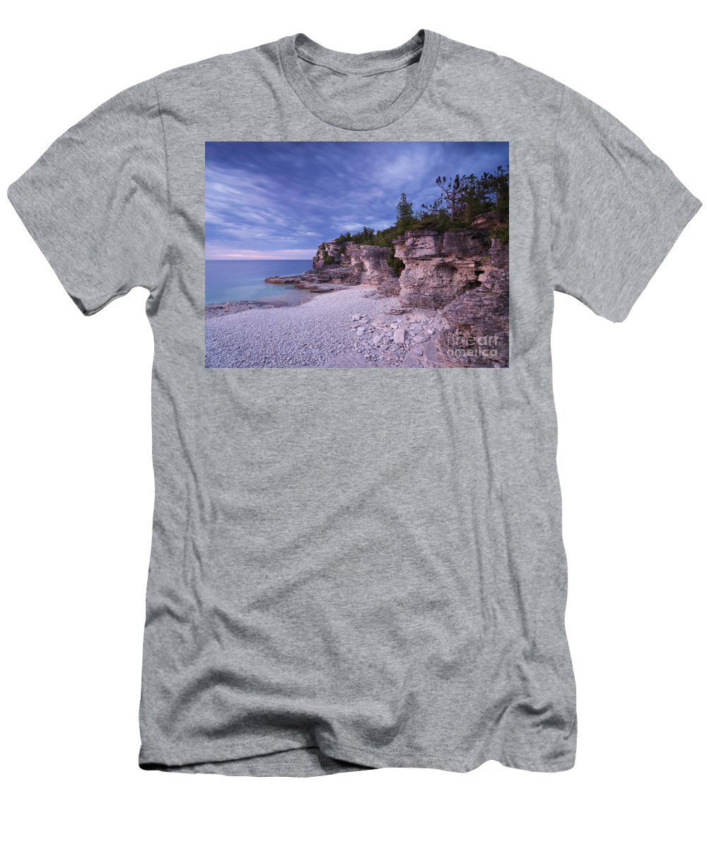 Georgian Bay Men's T-Shirt (Athletic Fit) featuring the photograph Georgian Bay Cliffs At Sunset by Oleksiy Maksymenko