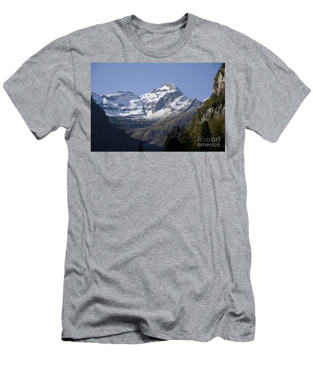 Mountain Men's T-Shirt (Athletic Fit) featuring the photograph Snow-capped Mountain by Mats Silvan