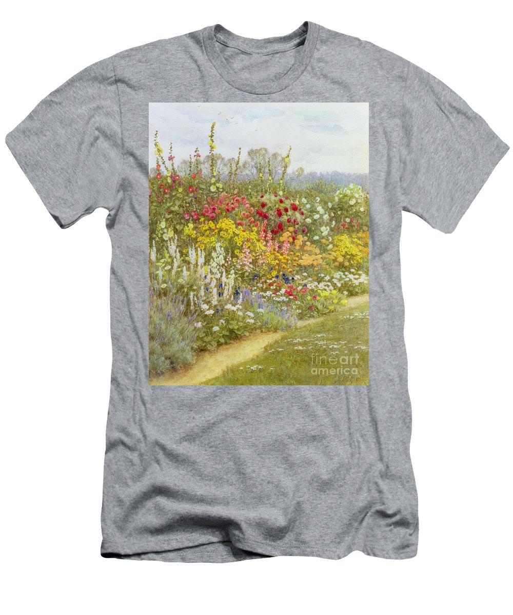 A Herbaceous Border Men's T-Shirt (Athletic Fit) featuring the painting A Herbaceous Border by Helen Allingham