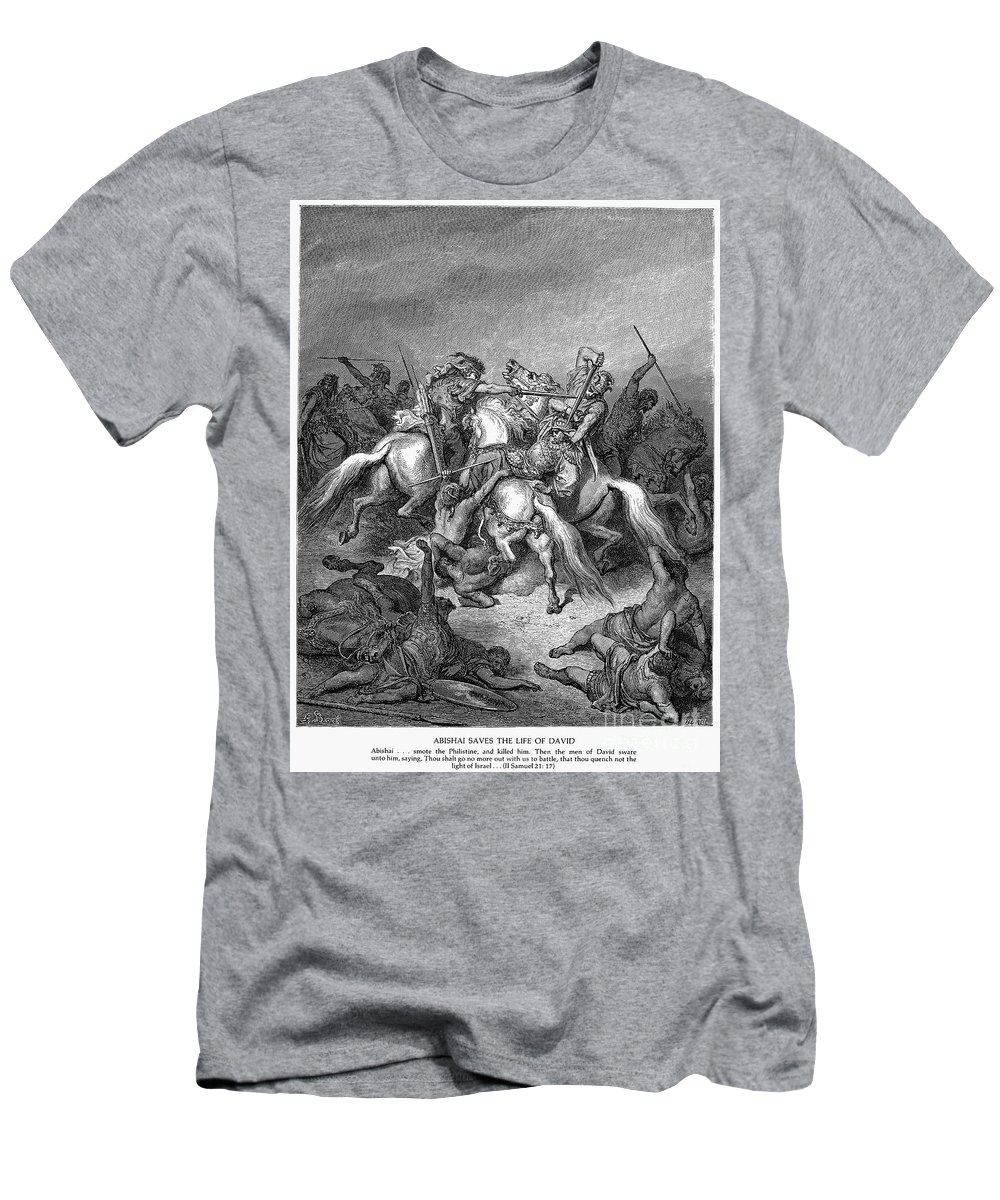 Abishai Men's T-Shirt (Athletic Fit) featuring the photograph Abishai Saving David by Granger
