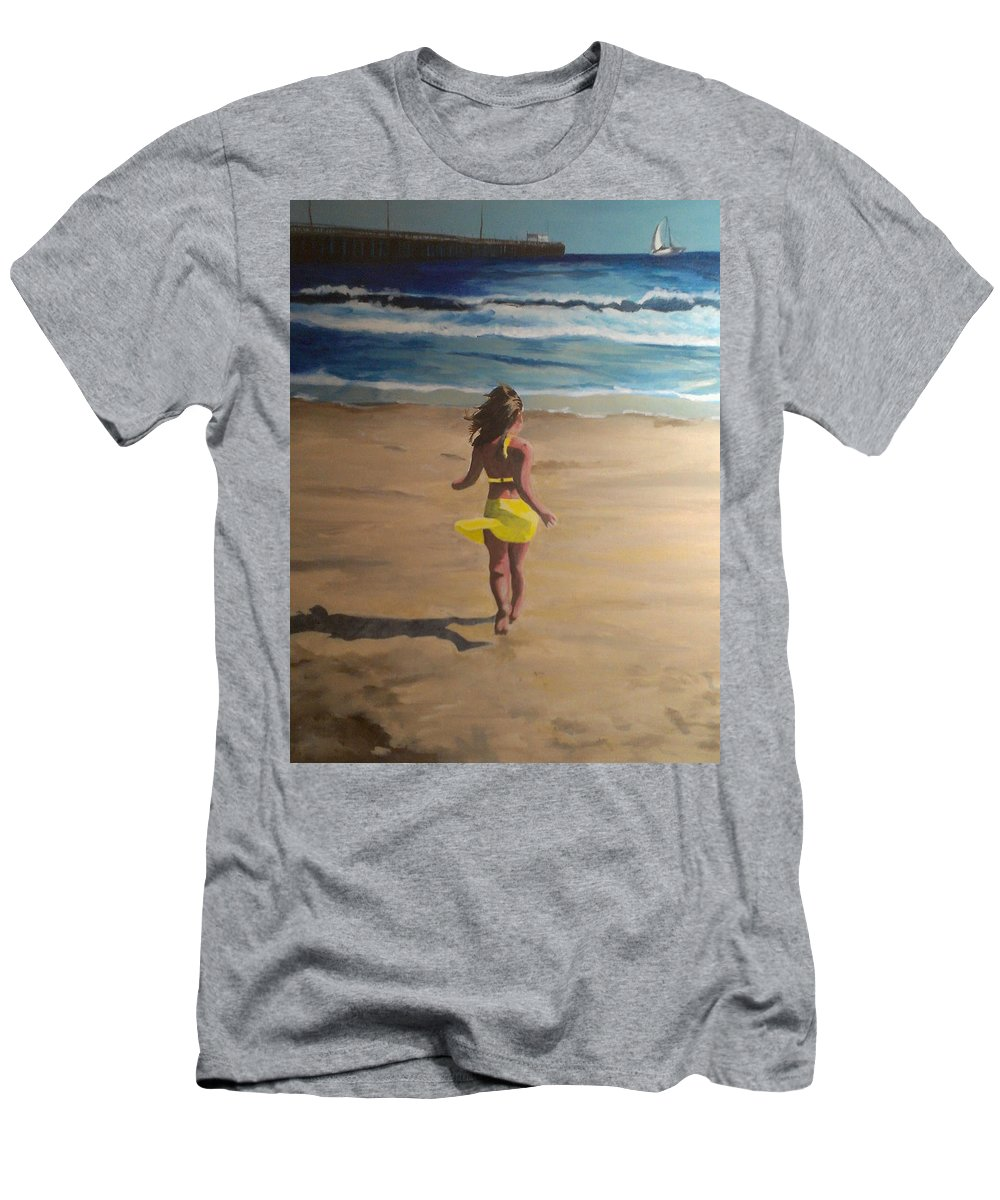 Beach T-Shirt featuring the painting Amelia Beach by Travis Day