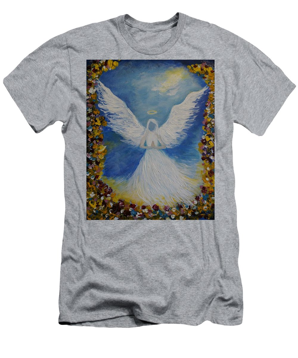 Angel Men's T-Shirt (Athletic Fit) featuring the painting Angels Prayer by Leslie Allen