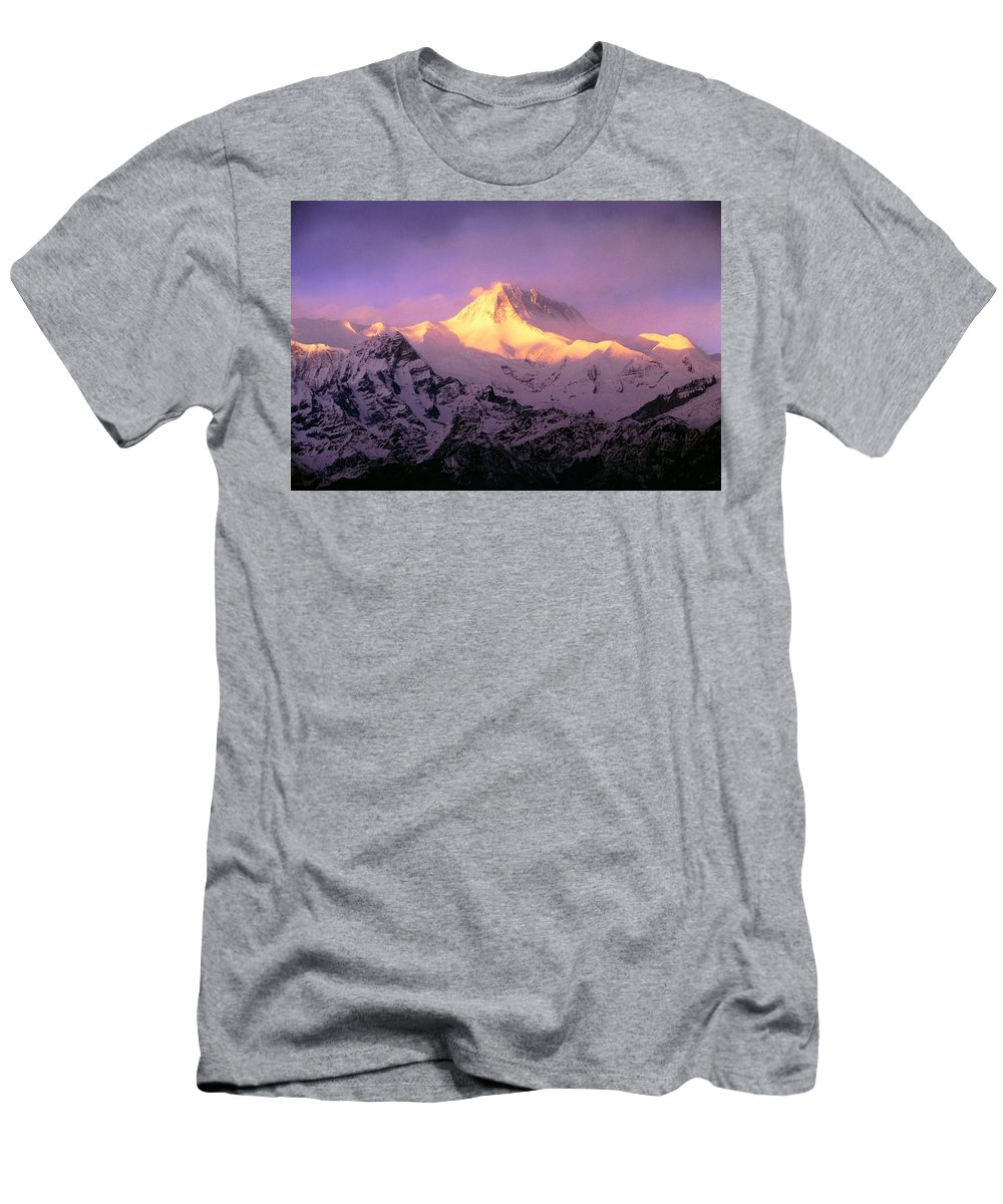 Beauty In Nature Men's T-Shirt (Athletic Fit) featuring the photograph Annapurna South At Sunrise, Nepal by Bilderbuch