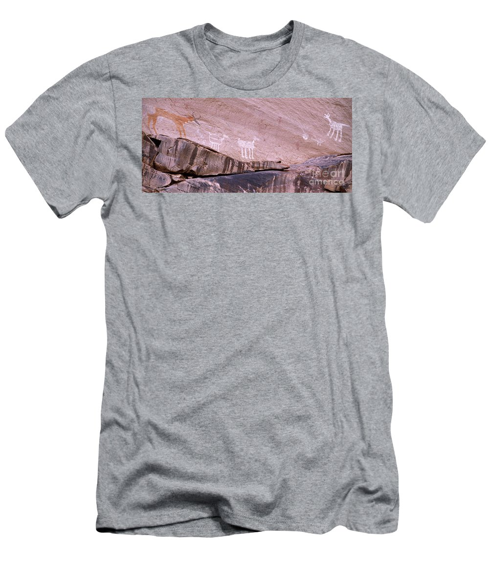 Antelope House Ruin Men's T-Shirt (Athletic Fit) featuring the photograph Antelope House Petroglyphs by Bob Christopher