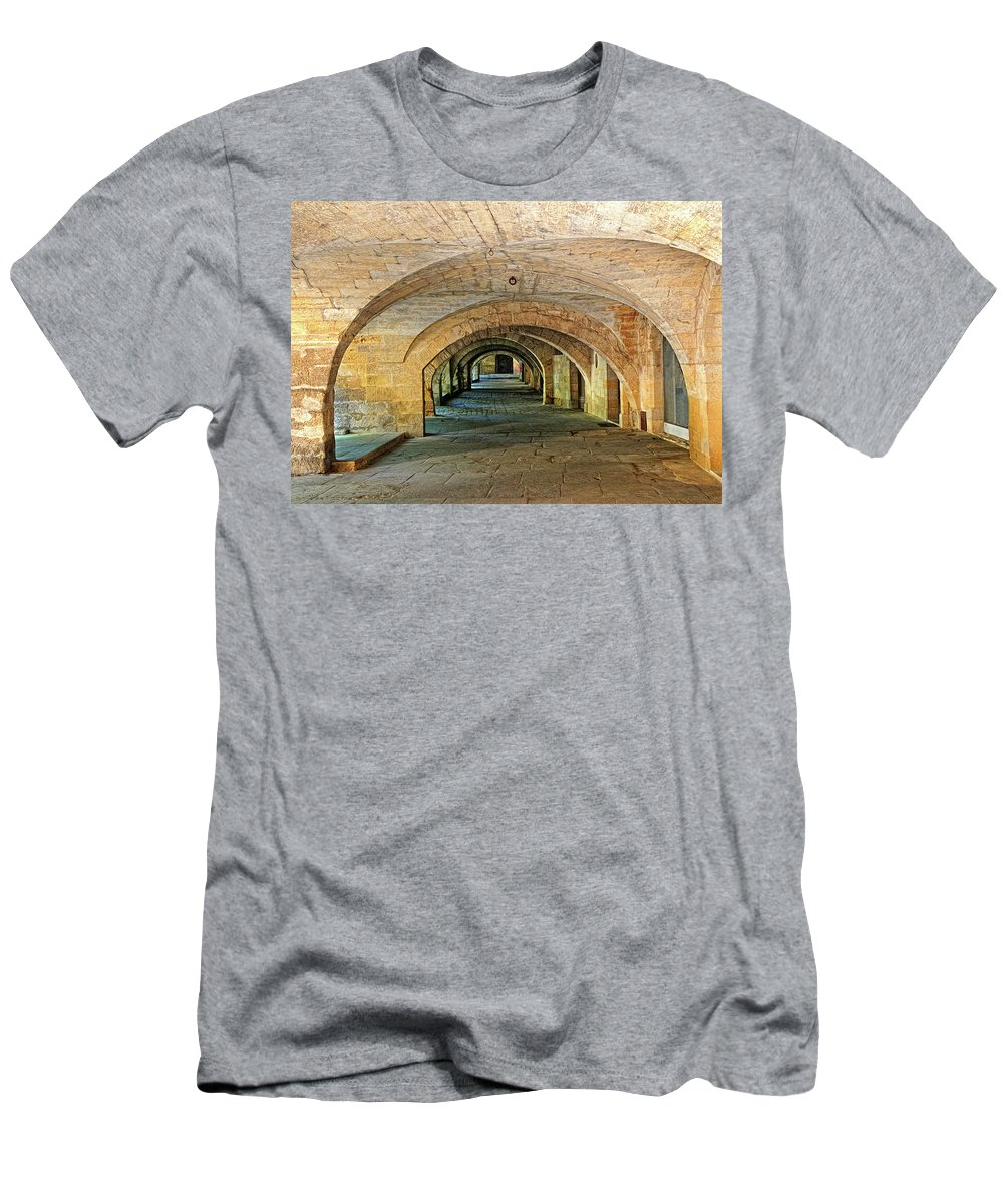 Arch Men's T-Shirt (Athletic Fit) featuring the photograph Arched Walkway In Provence by Dave Mills