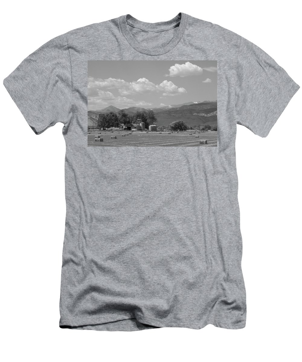 August Men's T-Shirt (Athletic Fit) featuring the photograph August Hay 75th St Boulder County Colorado Black And White by James BO Insogna