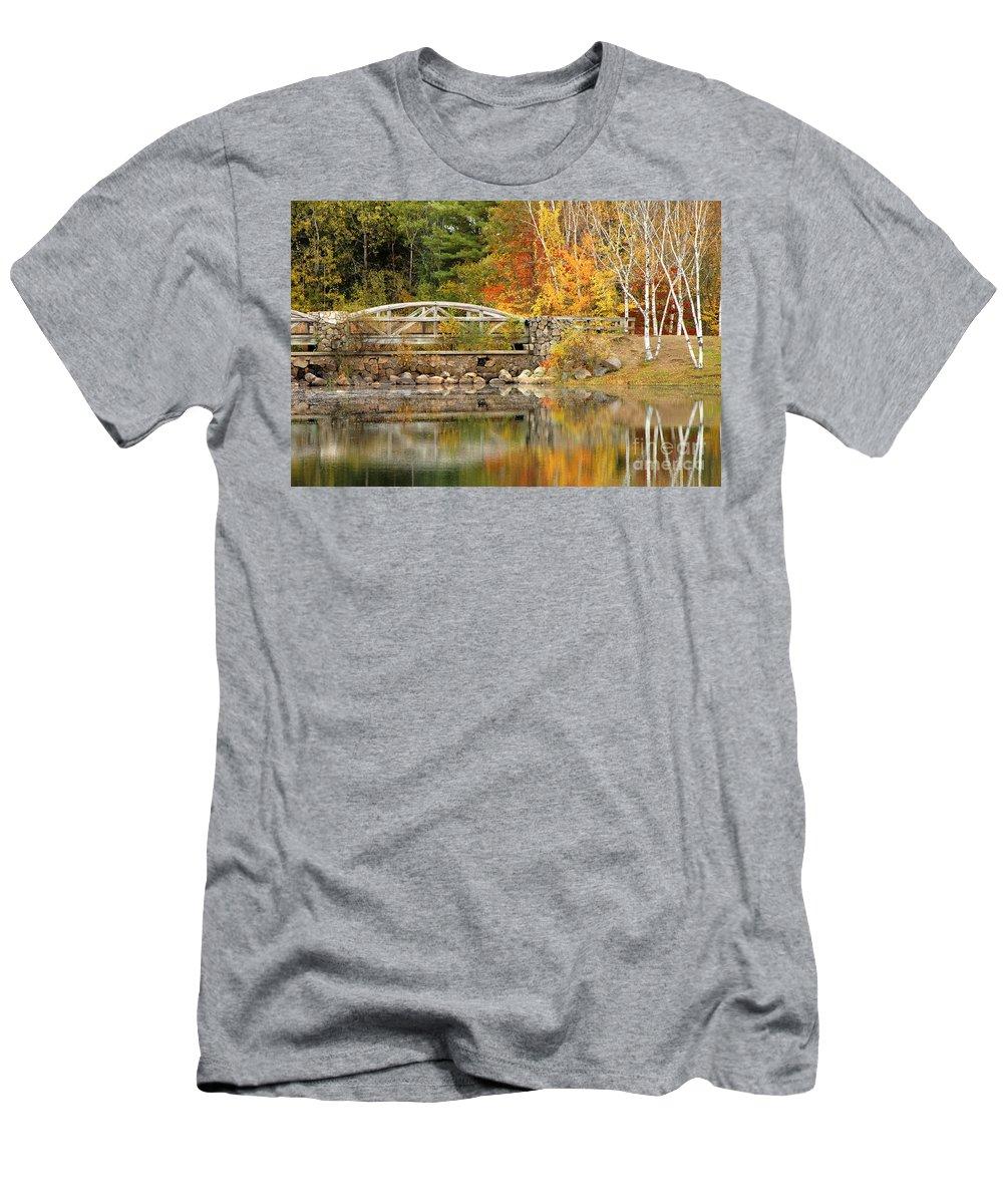 Autumn Men's T-Shirt (Athletic Fit) featuring the photograph Autumn Bridge by Mike Nellums