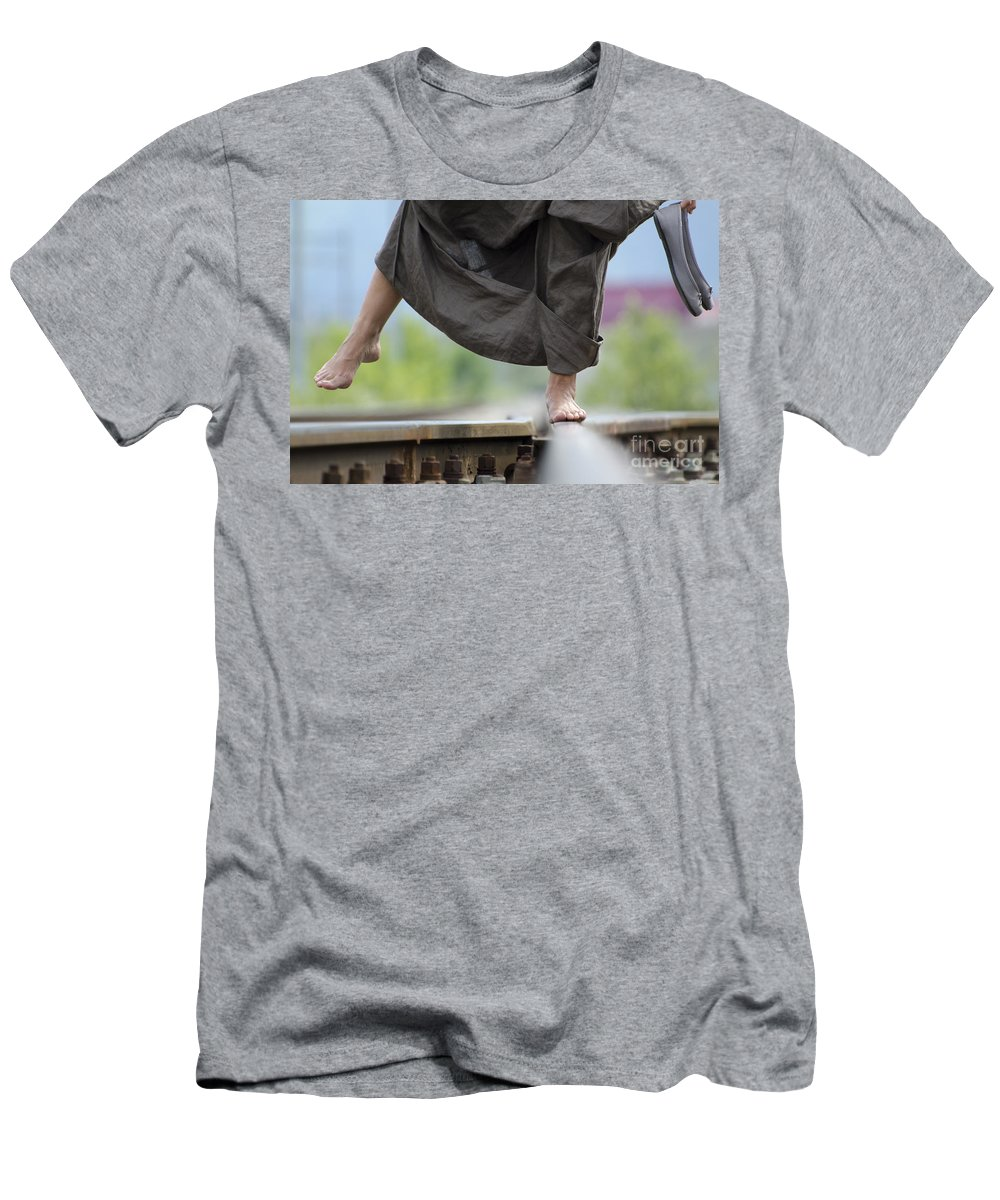 Shoes Men's T-Shirt (Athletic Fit) featuring the photograph Balance On Railroad Tracks by Mats Silvan