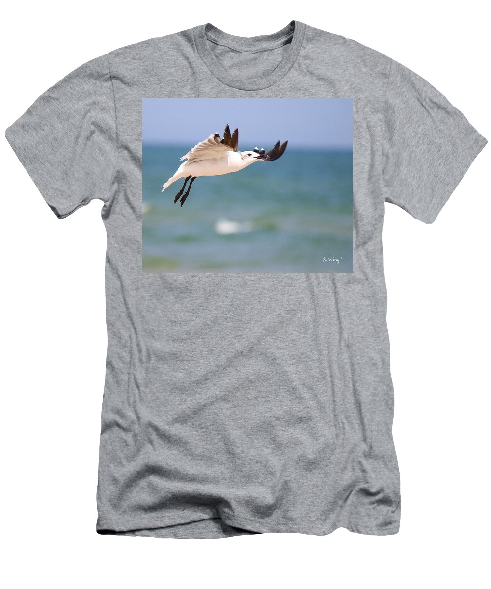 Roena King Men's T-Shirt (Athletic Fit) featuring the photograph Ballerina Performing A Grand Jete by Roena King