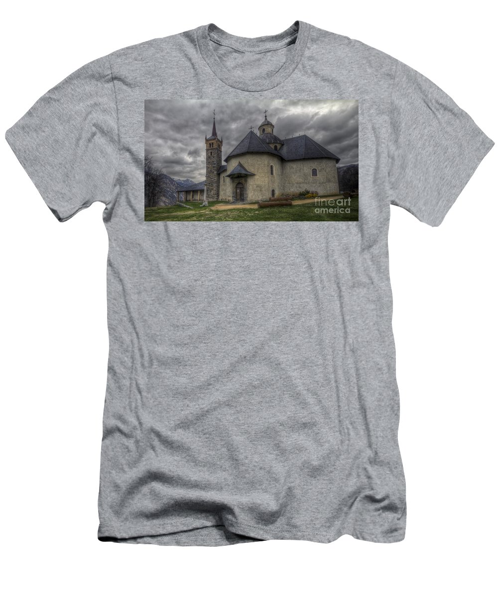 Clare Bambers Men's T-Shirt (Athletic Fit) featuring the photograph Baroque Church In Savoire France 6 by Clare Bambers