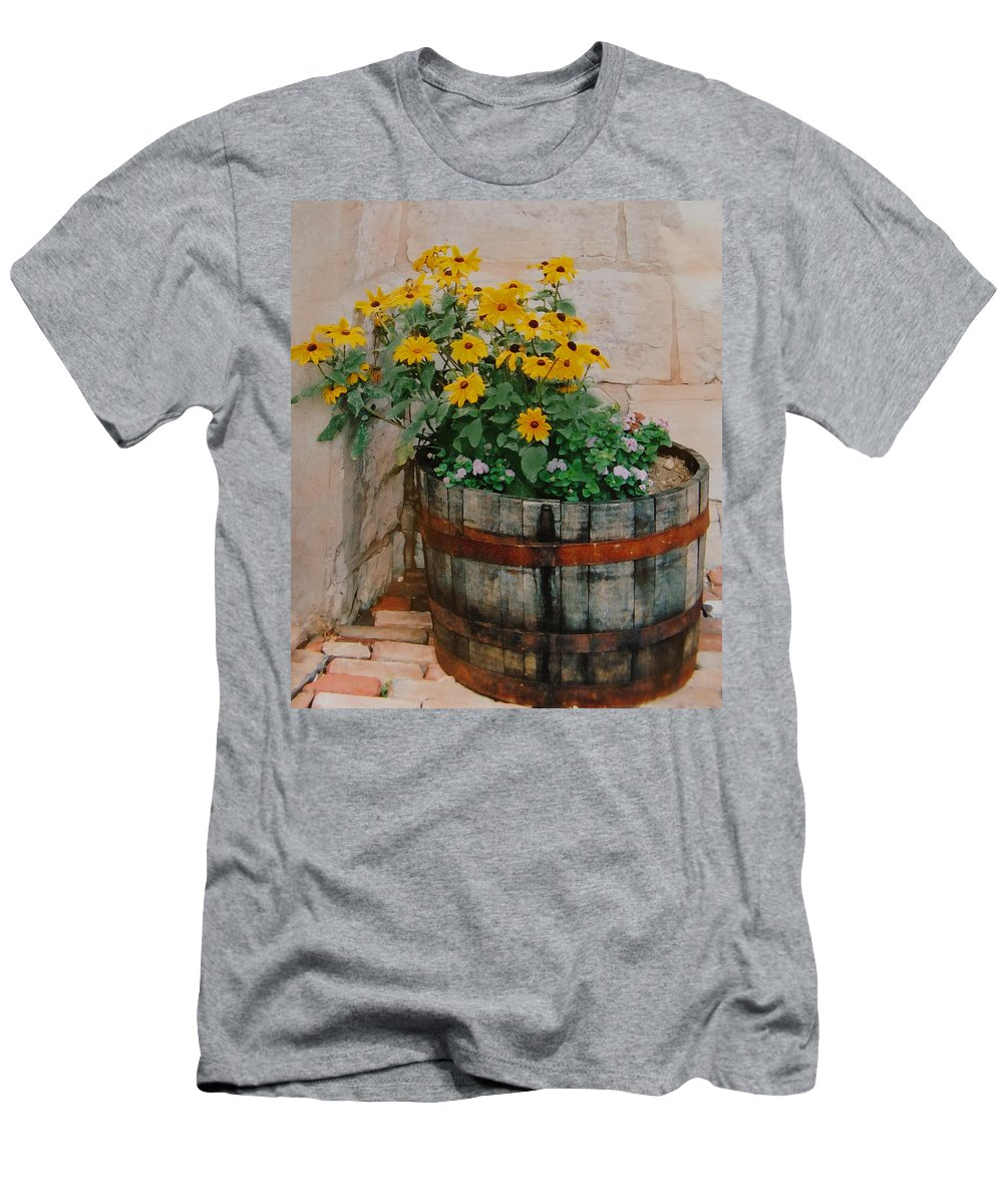 Flowers Men's T-Shirt (Athletic Fit) featuring the photograph Barrel Of Flowers by Ian MacDonald