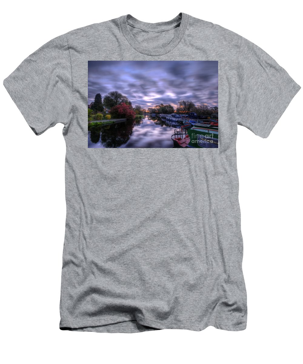 Hdr Men's T-Shirt (Athletic Fit) featuring the photograph Barrow Sunrise In Motion by Yhun Suarez