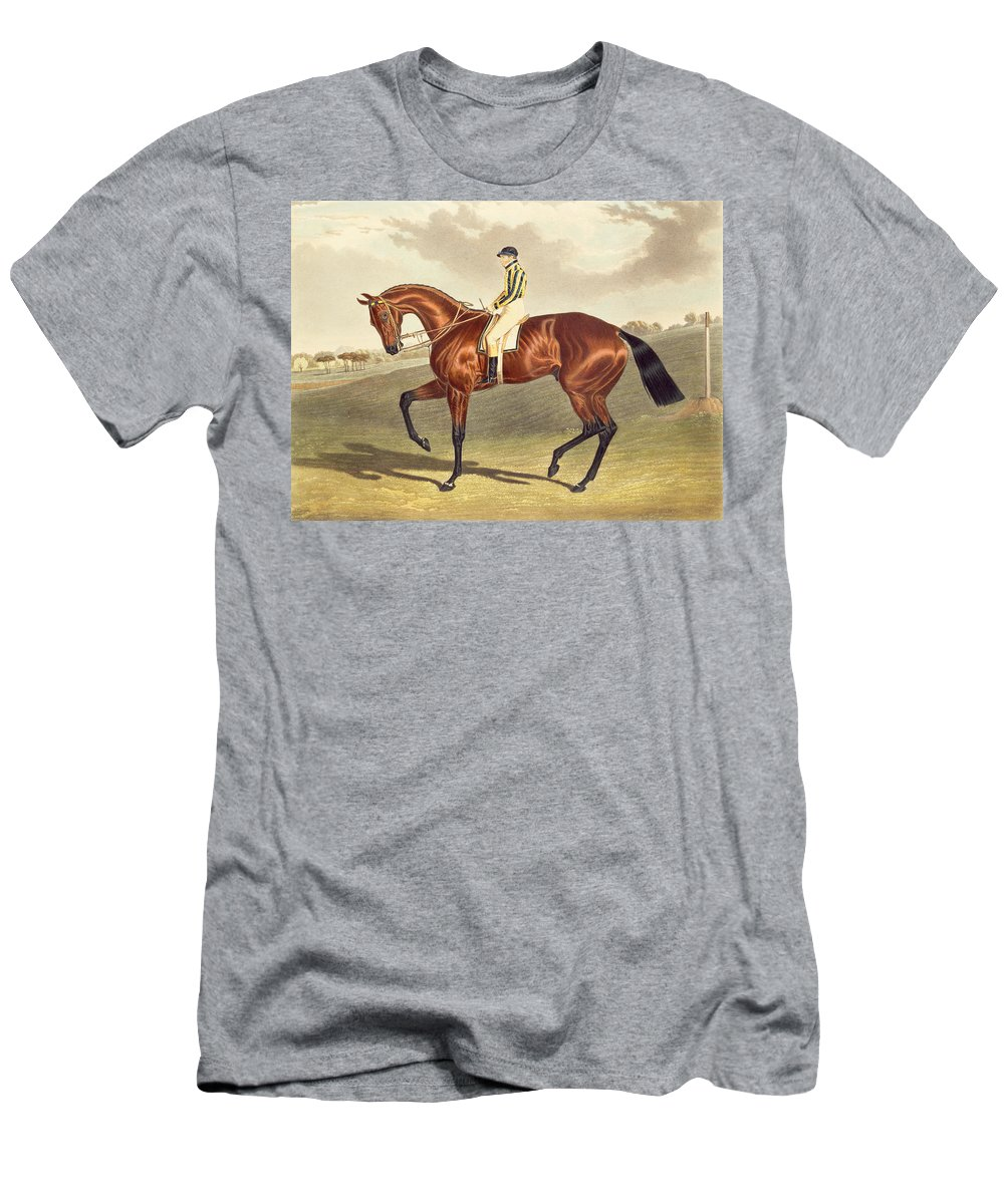 Jockey; Thoroughbred Men's T-Shirt (Athletic Fit) featuring the painting Bay Middleton Winner Of The Derby In 1836 by John Frederick Herring Snr