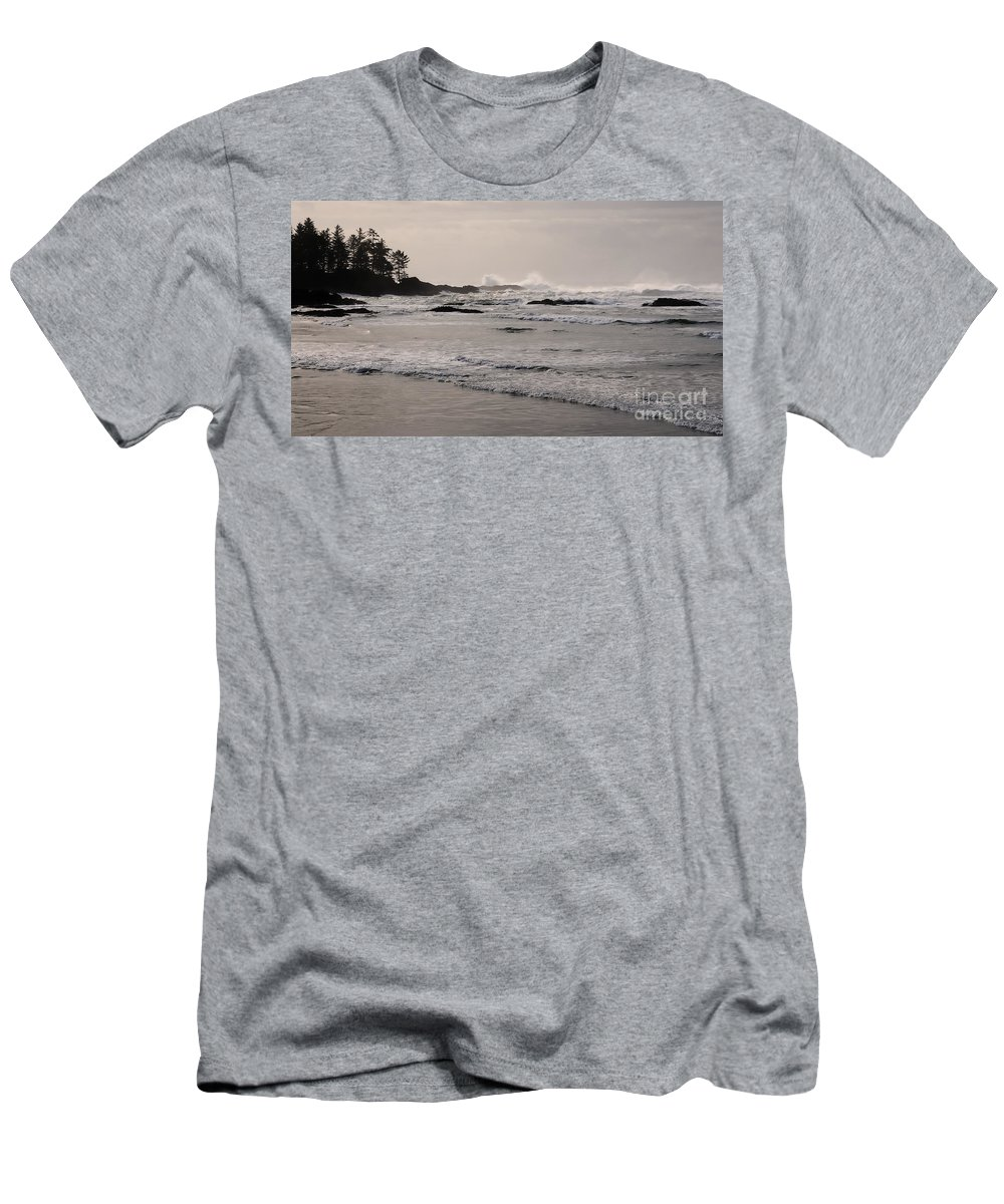 Tofino Men's T-Shirt (Athletic Fit) featuring the photograph Beach At Tofino by Vivian Christopher