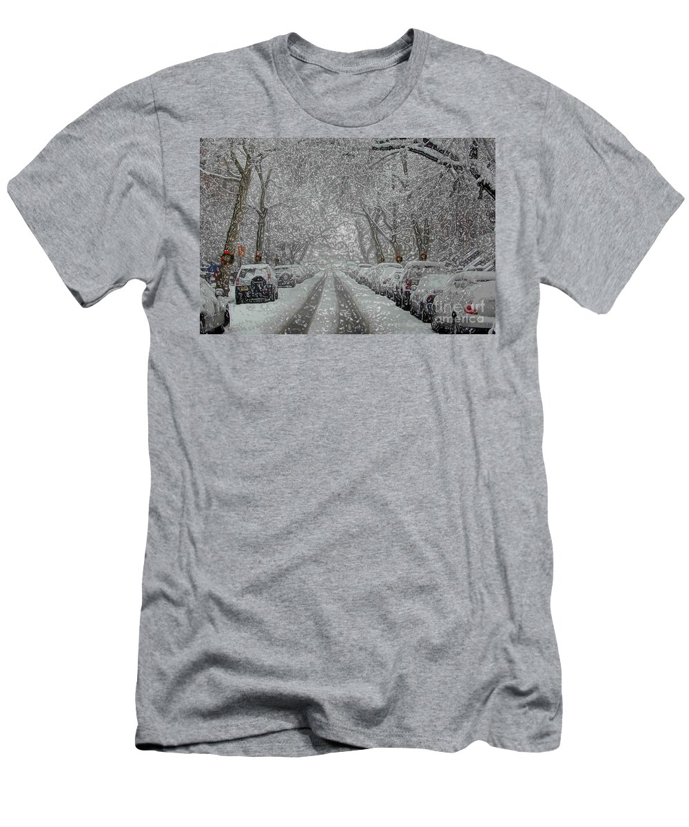 Snow Men's T-Shirt (Athletic Fit) featuring the photograph Berkeley Place by Mark Gilman