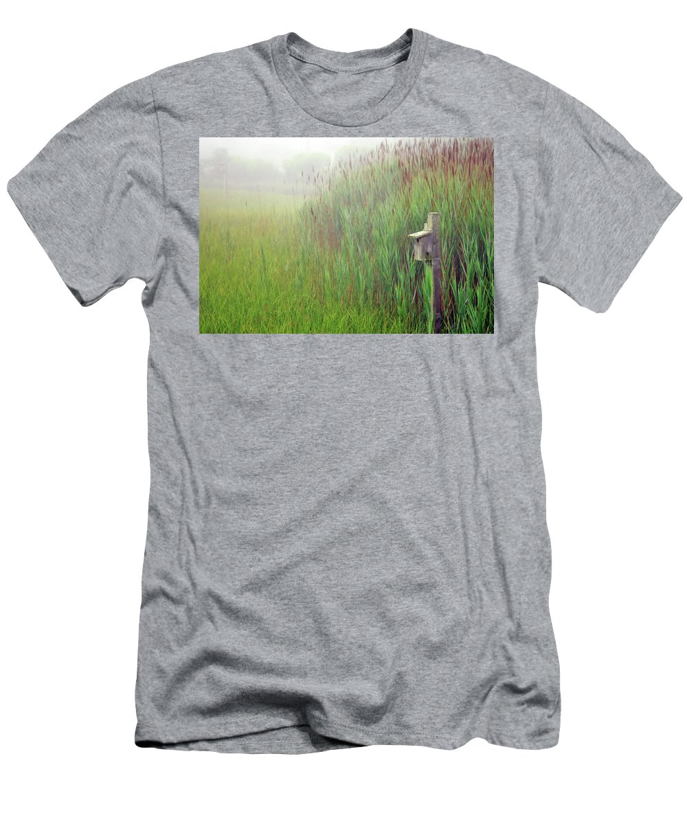 Quogue Wildlife Preserve Men's T-Shirt (Athletic Fit) featuring the photograph Bird House In Quogue Wildlife Preserve by Rick Berk