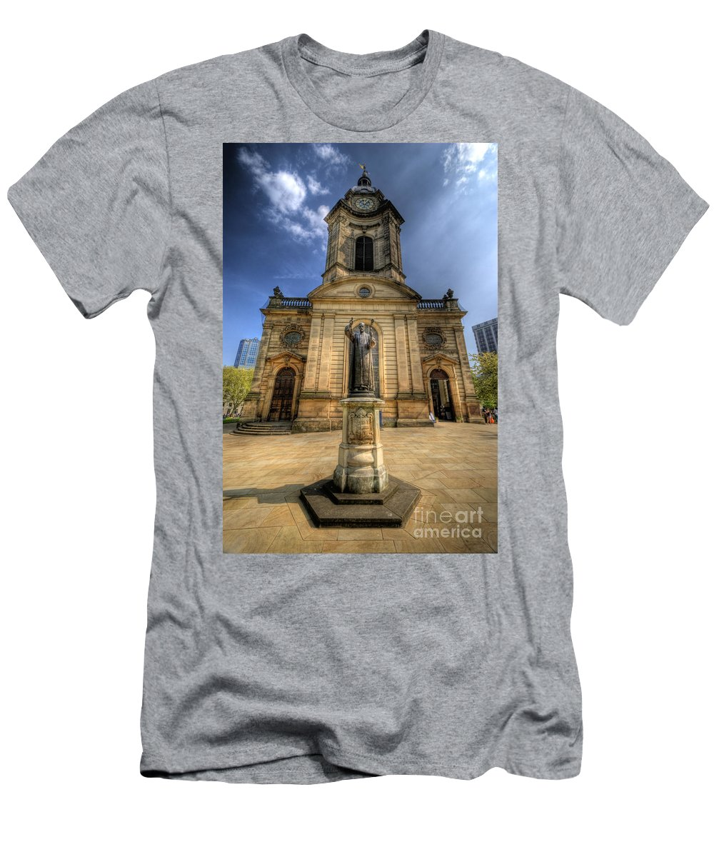 Church Men's T-Shirt (Athletic Fit) featuring the photograph Birmingham Cathedral 2.0 by Yhun Suarez