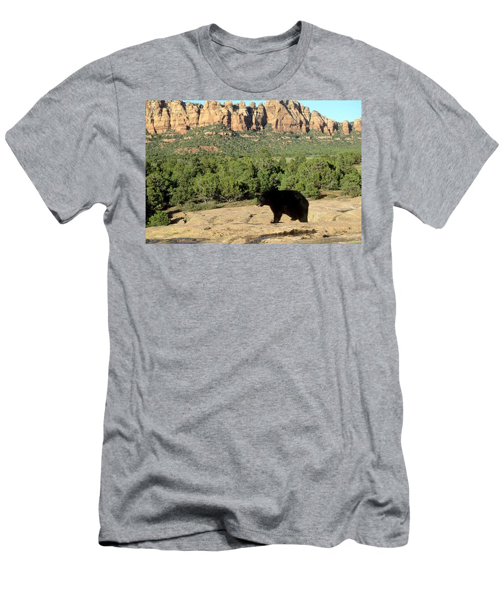 Black Bear Men's T-Shirt (Athletic Fit) featuring the photograph Black Bear In Utah by Larry Allan