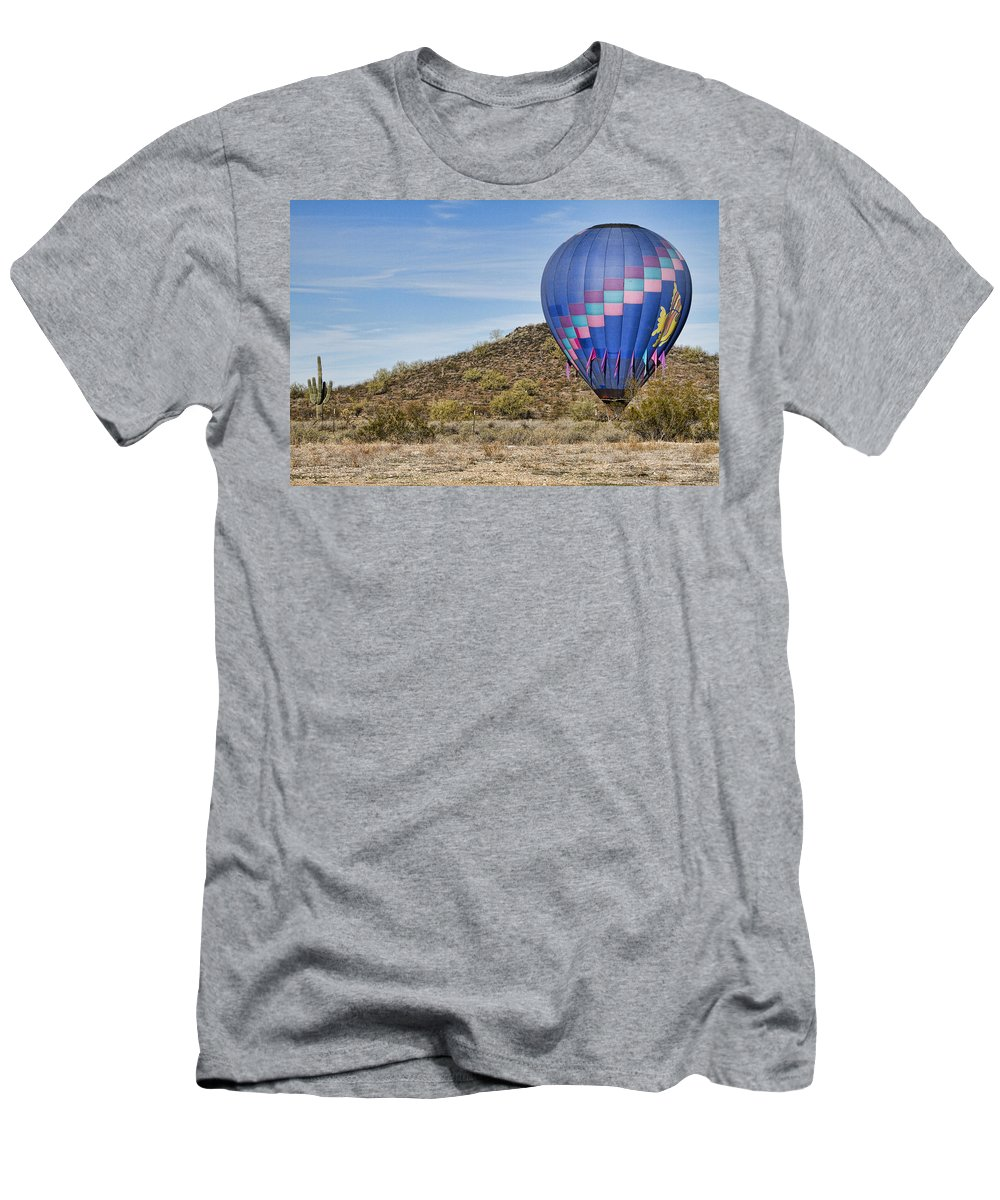 Balloon Men's T-Shirt (Athletic Fit) featuring the photograph Blue Hot Air Balloon On The Desert by James BO Insogna