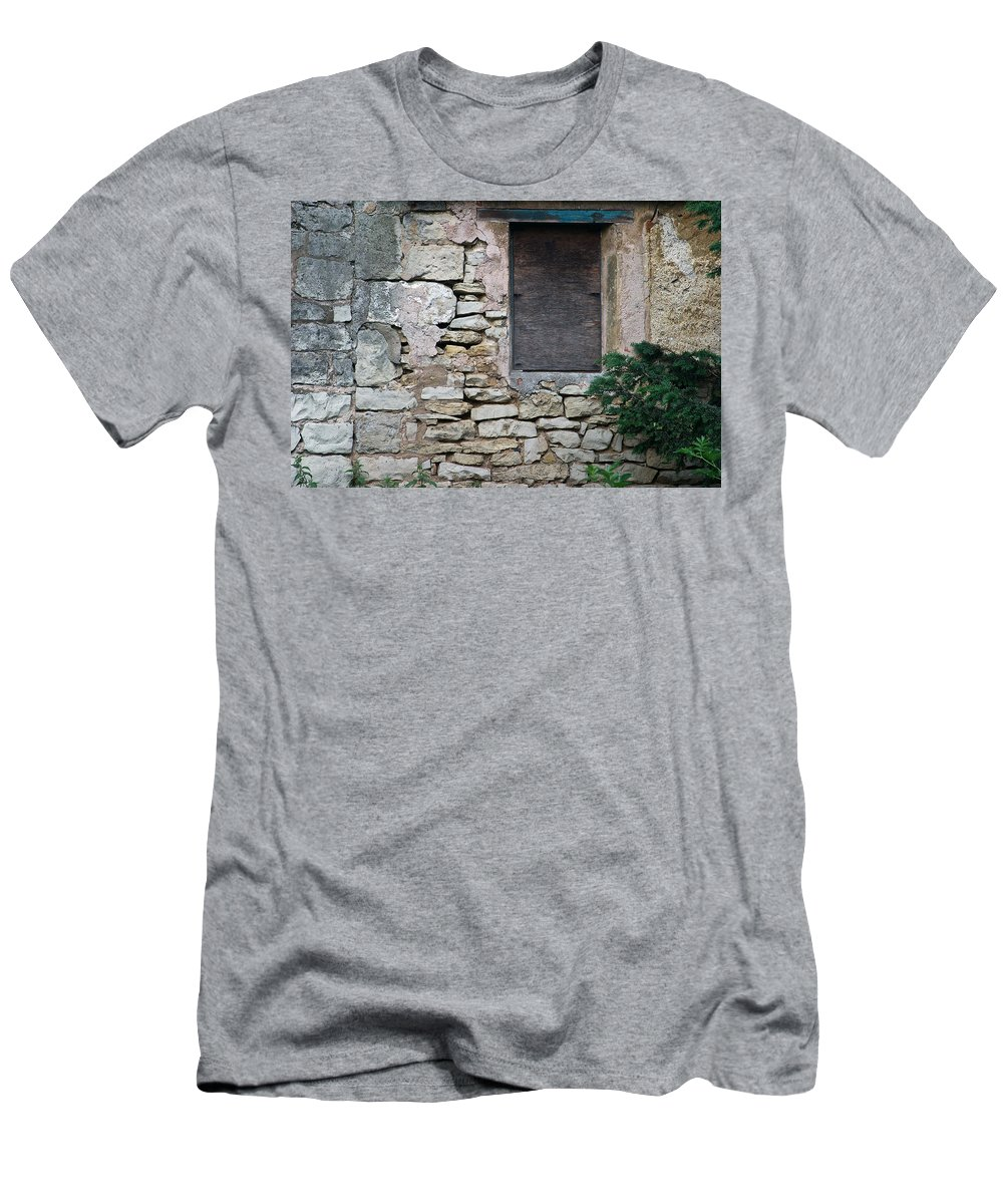 Boarded Men's T-Shirt (Athletic Fit) featuring the photograph Boarded Window England by David Kleinsasser
